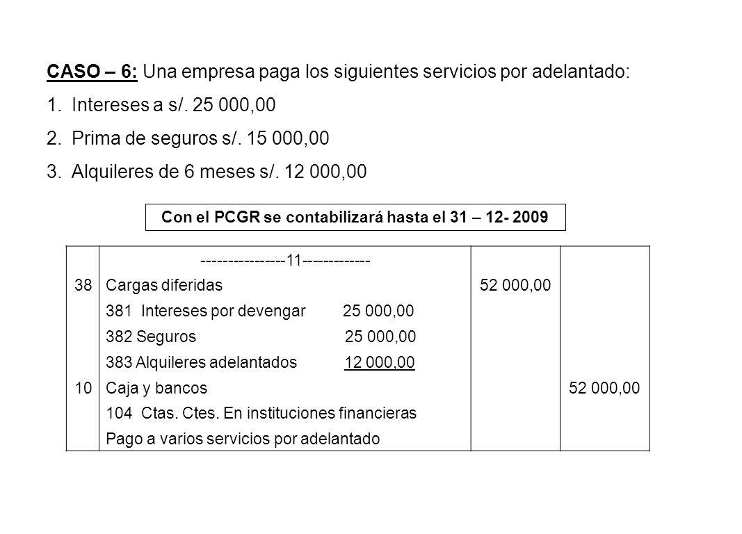 CASO – 6: Una empresa paga los siguientes servicios por adelantado: 1.Intereses a s/. 25 000,00 2.Prima de seguros s/. 15 000,00 3.Alquileres de 6 mes