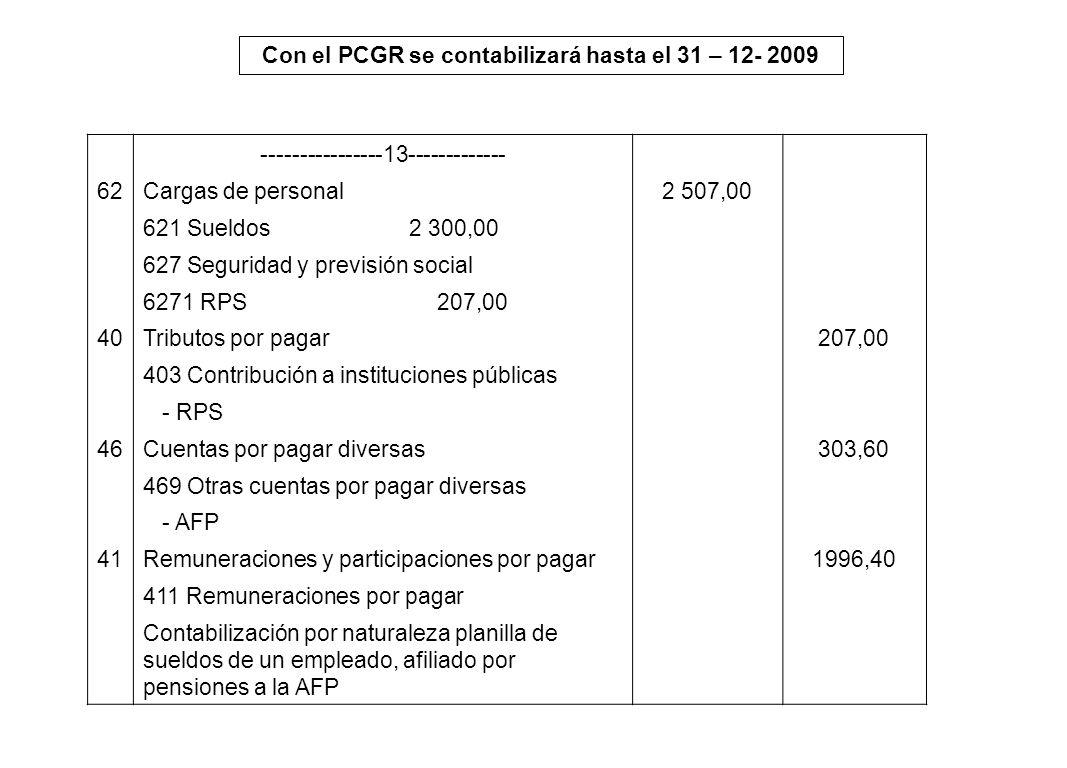 Con el PCGR se contabilizará hasta el 31 – 12- 2009 ----------------13------------- 62Cargas de personal2 507,00 621 Sueldos 2 300,00 627 Seguridad y