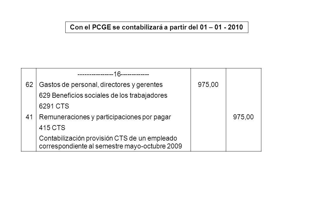 Con el PCGE se contabilizará a partir del 01 – 01 - 2010 ----------------16------------- 62Gastos de personal, directores y gerentes975,00 629 Benefic
