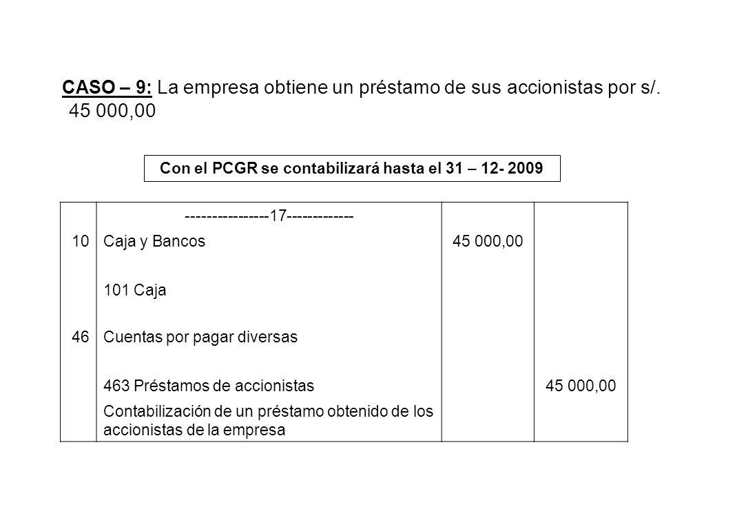 CASO – 9: La empresa obtiene un préstamo de sus accionistas por s/. 45 000,00 Con el PCGR se contabilizará hasta el 31 – 12- 2009 ----------------17--