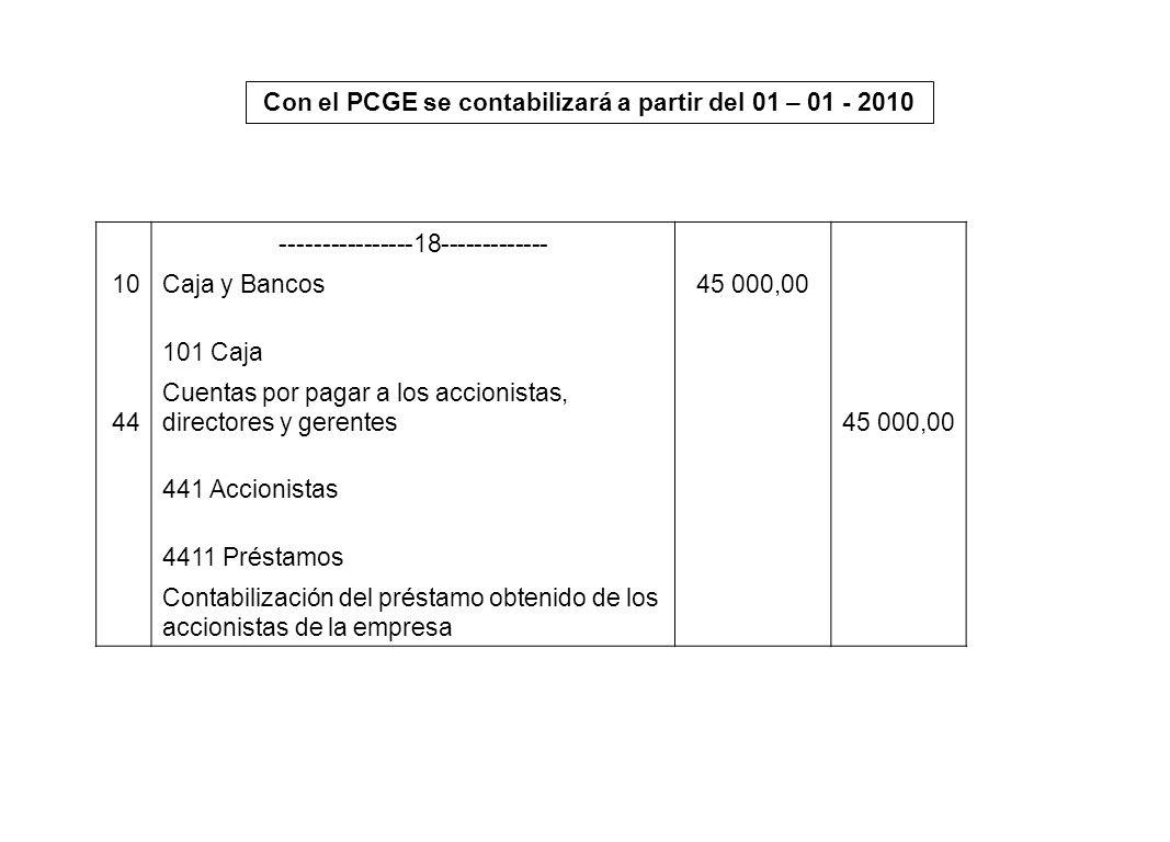 Con el PCGE se contabilizará a partir del 01 – 01 - 2010 ----------------18------------- 10Caja y Bancos45 000,00 101 Caja 44 Cuentas por pagar a los