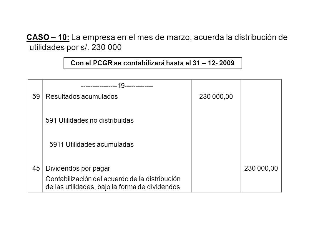 CASO – 10: La empresa en el mes de marzo, acuerda la distribución de utilidades por s/. 230 000 Con el PCGR se contabilizará hasta el 31 – 12- 2009 --