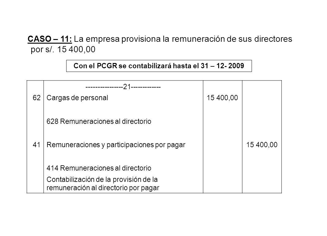 CASO – 11: La empresa provisiona la remuneración de sus directores por s/. 15 400,00 Con el PCGR se contabilizará hasta el 31 – 12- 2009 -------------