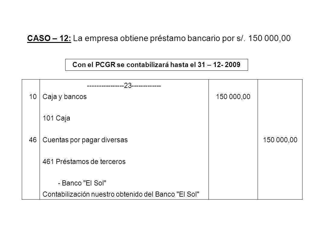 CASO – 12: La empresa obtiene préstamo bancario por s/. 150 000,00 Con el PCGR se contabilizará hasta el 31 – 12- 2009 ----------------23-------------