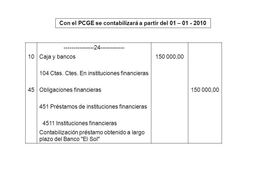 Con el PCGE se contabilizará a partir del 01 – 01 - 2010 ----------------24------------- 10Caja y bancos150 000,00 104 Ctas. Ctes. En instituciones fi