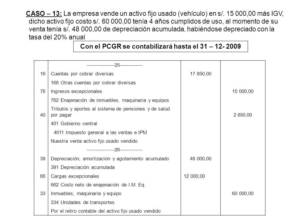 CASO – 13: La empresa vende un activo fijo usado (vehículo) en s/. 15 000,00 más IGV, dicho activo fijo costo s/. 60 000,00 tenía 4 años cumplidos de