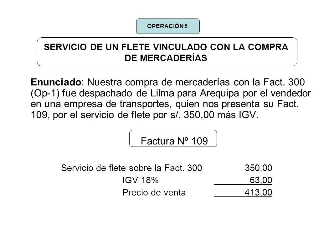 SERVICIO DE UN FLETE VINCULADO CON LA COMPRA DE MERCADERÍAS Enunciado: Nuestra compra de mercaderías con la Fact. 300 (Op-1) fue despachado de Lilma p