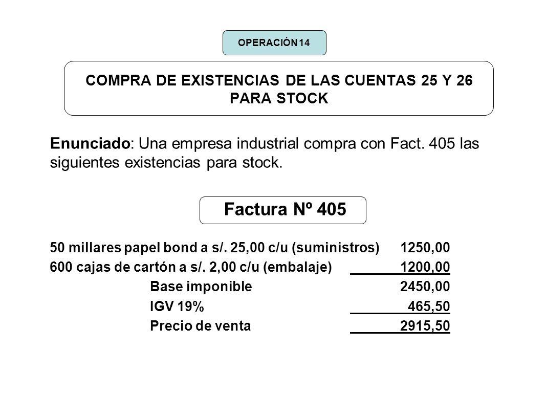 COMPRA DE EXISTENCIAS DE LAS CUENTAS 25 Y 26 PARA STOCK Enunciado: Una empresa industrial compra con Fact. 405 las siguientes existencias para stock.