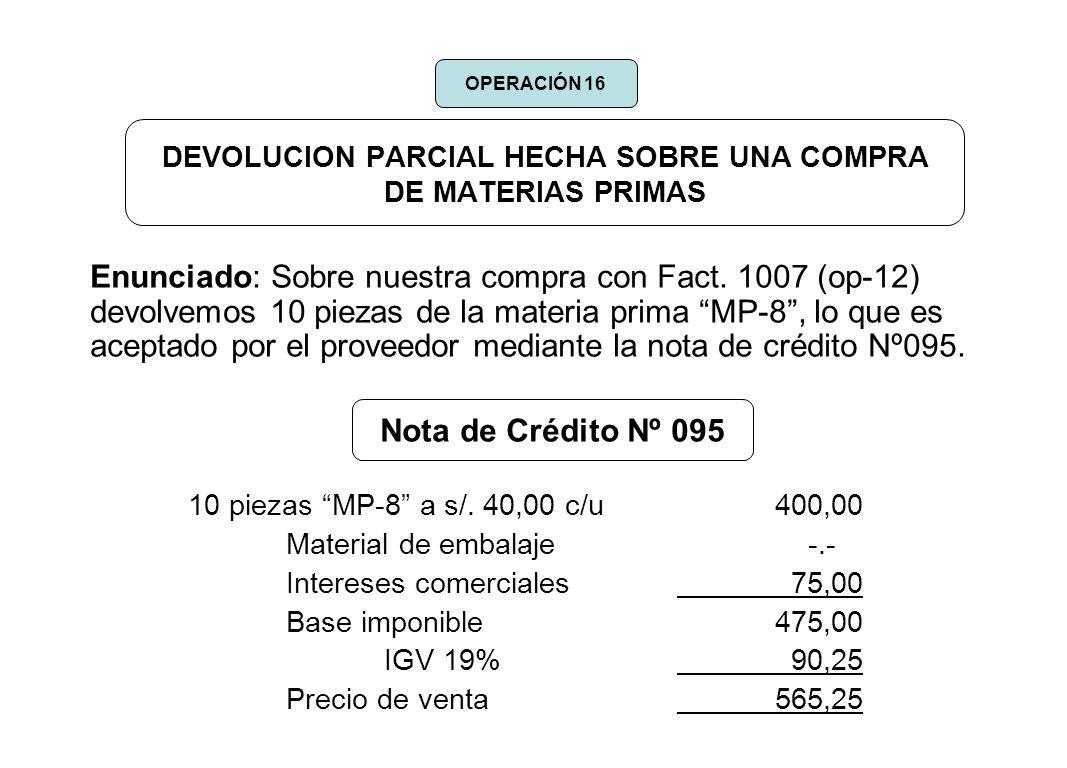 DEVOLUCION PARCIAL HECHA SOBRE UNA COMPRA DE MATERIAS PRIMAS Enunciado: Sobre nuestra compra con Fact. 1007 (op-12) devolvemos 10 piezas de la materia