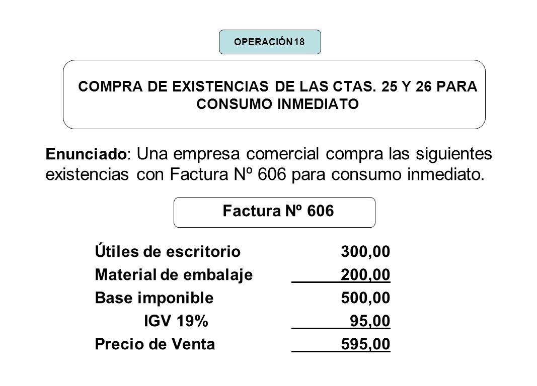 COMPRA DE EXISTENCIAS DE LAS CTAS. 25 Y 26 PARA CONSUMO INMEDIATO Enunciado: Una empresa comercial compra las siguientes existencias con Factura Nº 60