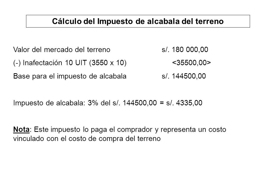 Cálculo del Impuesto de alcabala del terreno Valor del mercado del terrenos/. 180 000,00 (-) Inafectación 10 UIT (3550 x 10) Base para el impuesto de
