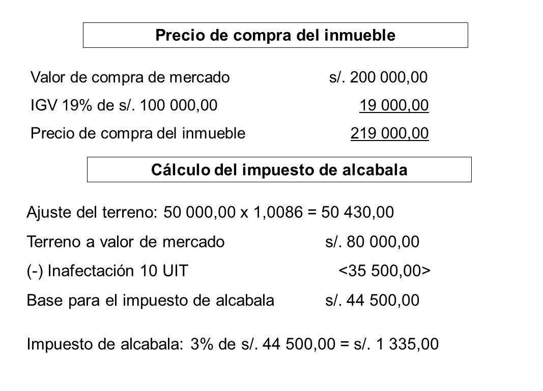 Precio de compra del inmueble Valor de compra de mercados/. 200 000,00 IGV 19% de s/. 100 000,00 19 000,00 Precio de compra del inmueble 219 000,00 Cá