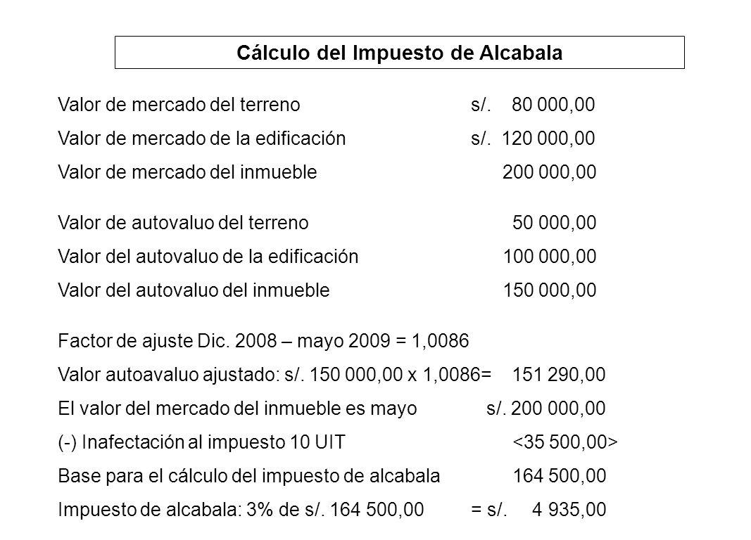 Cálculo del Impuesto de Alcabala Valor de mercado del terrenos/. 80 000,00 Valor de mercado de la edificacións/. 120 000,00 Valor de mercado del inmue