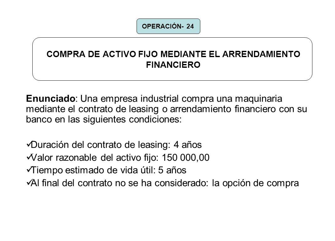 COMPRA DE ACTIVO FIJO MEDIANTE EL ARRENDAMIENTO FINANCIERO Enunciado: Una empresa industrial compra una maquinaria mediante el contrato de leasing o a