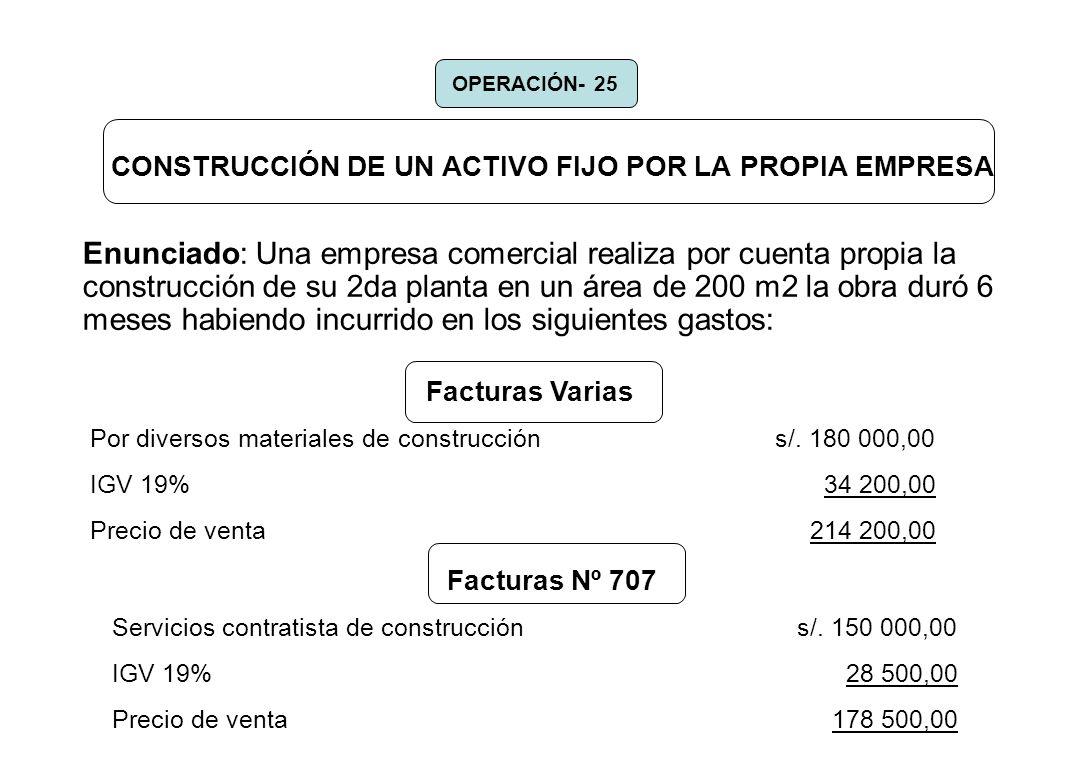CONSTRUCCIÓN DE UN ACTIVO FIJO POR LA PROPIA EMPRESA Enunciado: Una empresa comercial realiza por cuenta propia la construcción de su 2da planta en un