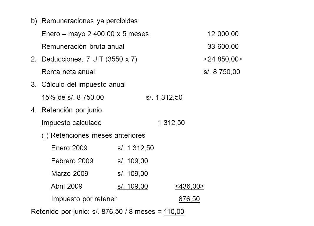 b)Remuneraciones ya percibidas Enero – mayo 2 400,00 x 5 meses 12 000,00 Remuneración bruta anual 33 600,00 2.Deducciones: 7 UIT (3550 x 7) Renta neta