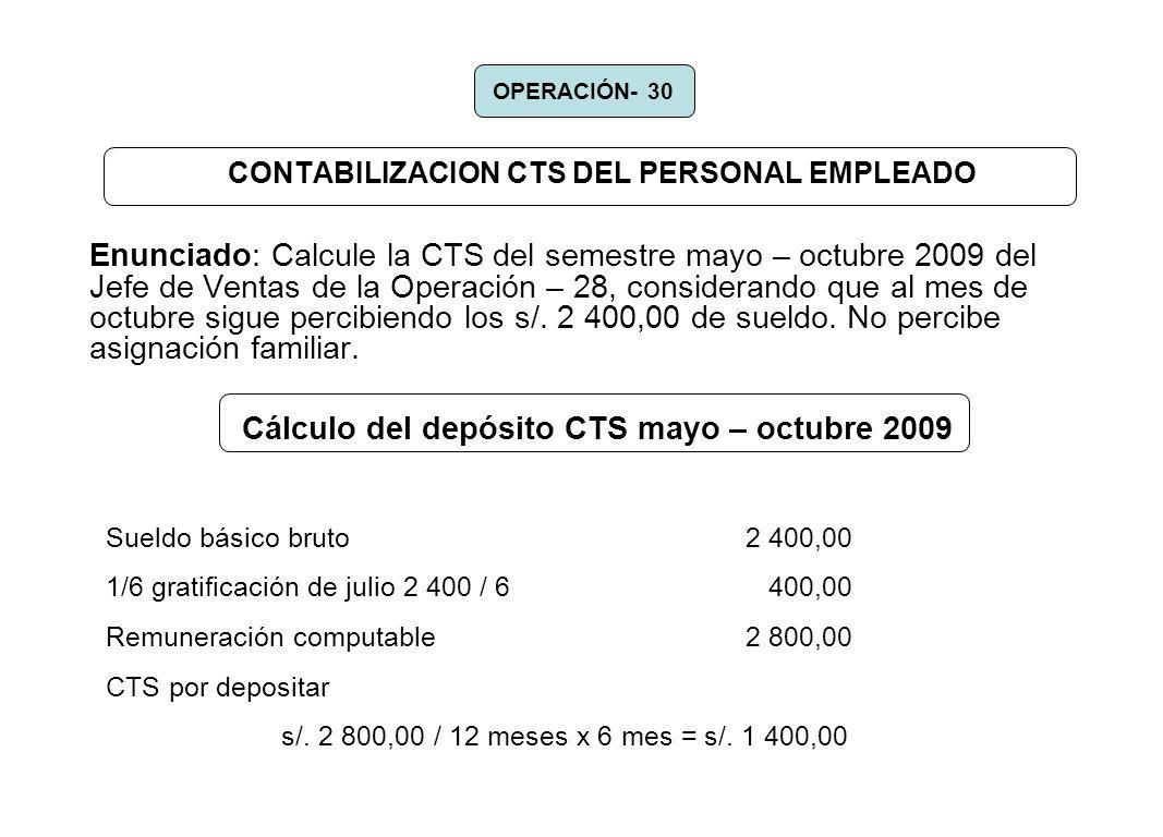 CONTABILIZACION CTS DEL PERSONAL EMPLEADO Enunciado: Calcule la CTS del semestre mayo – octubre 2009 del Jefe de Ventas de la Operación – 28, consider