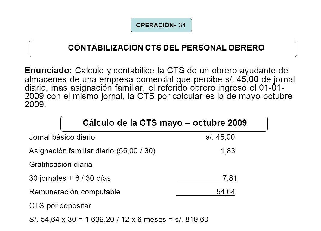 CONTABILIZACION CTS DEL PERSONAL OBRERO Enunciado: Calcule y contabilice la CTS de un obrero ayudante de almacenes de una empresa comercial que percib