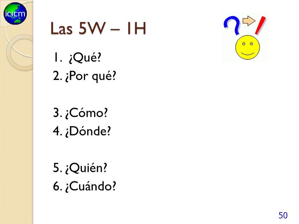Las 5W – 1H 1. ¿Qué? 2. ¿Por qué? 3. ¿Cómo? 4. ¿Dónde? 5. ¿Quién? 6. ¿Cuándo? 50
