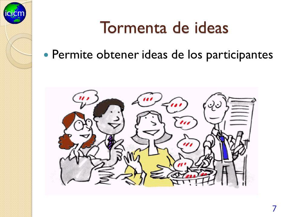 7 Tormenta de ideas Permite obtener ideas de los participantes