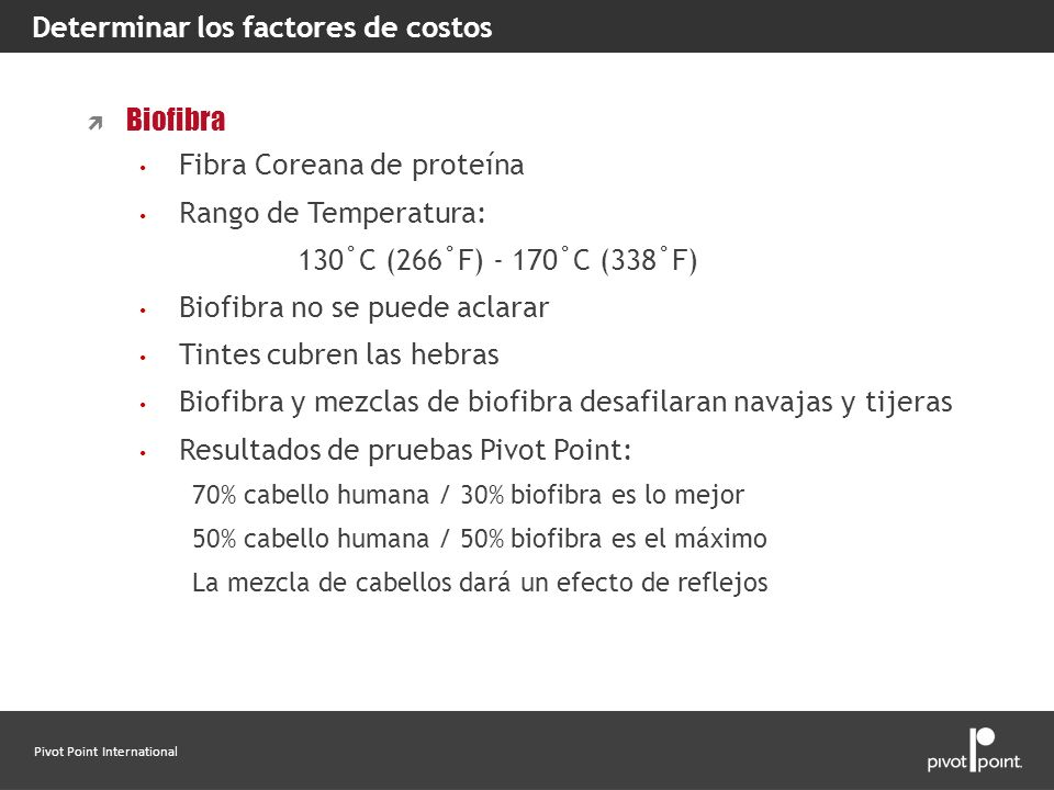 Pivot Point International Determinar los factores de costos Biofibra Fibra Coreana de proteína Rango de Temperatura: 130˚C (266˚F) - 170˚C (338˚F) Bio