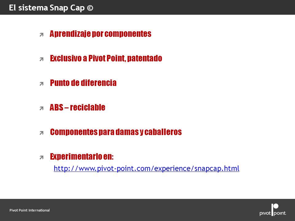 Pivot Point International El sistema Snap Cap © Aprendizaje por componentes Exclusivo a Pivot Point, patentado Punto de diferencia ABS – reciclable Co
