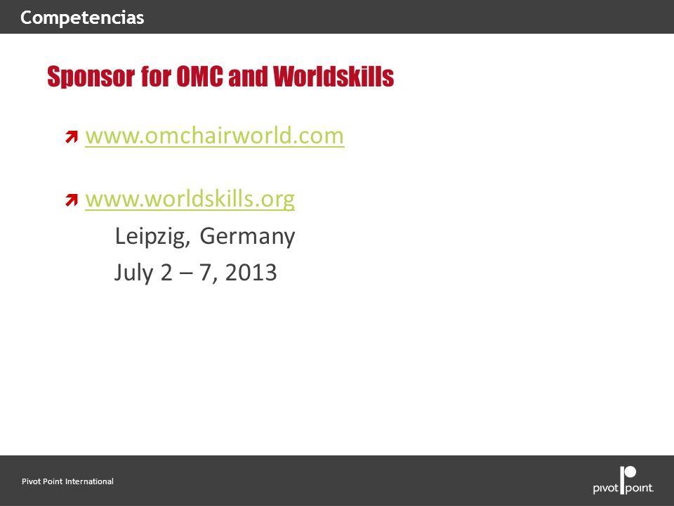 Pivot Point International Sponsor for OMC and Worldskills www.omchairworld.com www.worldskills.org Leipzig, Germany July 2 – 7, 2013 Competencias