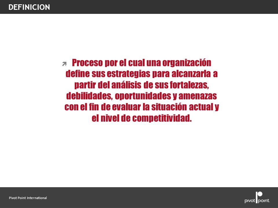 Pivot Point International Proceso por el cual una organización define sus estrategias para alcanzarla a partir del análisis de sus fortalezas, debilid