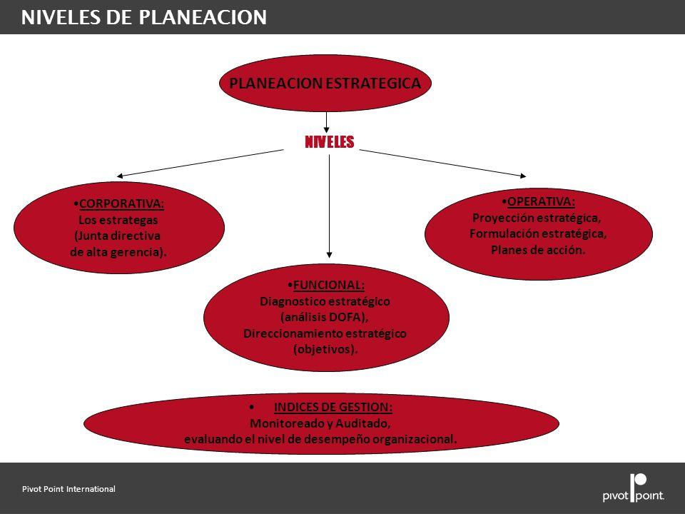 Pivot Point International NIVELES PLANEACION ESTRATEGICA CORPORATIVA: Los estrategas (Junta directiva de alta gerencia). FUNCIONAL: Diagnostico estrat