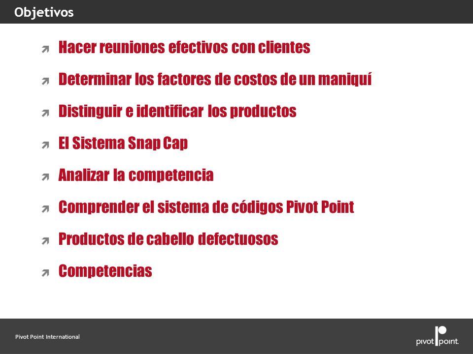 Pivot Point International Hacer reuniones efectivos con clientes Determinar los factores de costos de un maniquí Distinguir e identificar los producto
