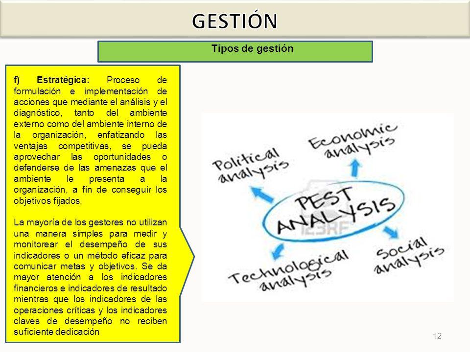 12 Tipos de gestión f) Estratégica: Proceso de formulación e implementación de acciones que mediante el análisis y el diagnóstico, tanto del ambiente