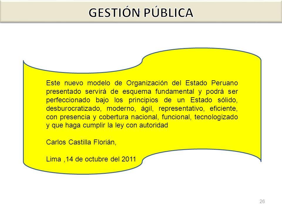 26 Este nuevo modelo de Organización del Estado Peruano presentado servirá de esquema fundamental y podrá ser perfeccionado bajo los principios de un