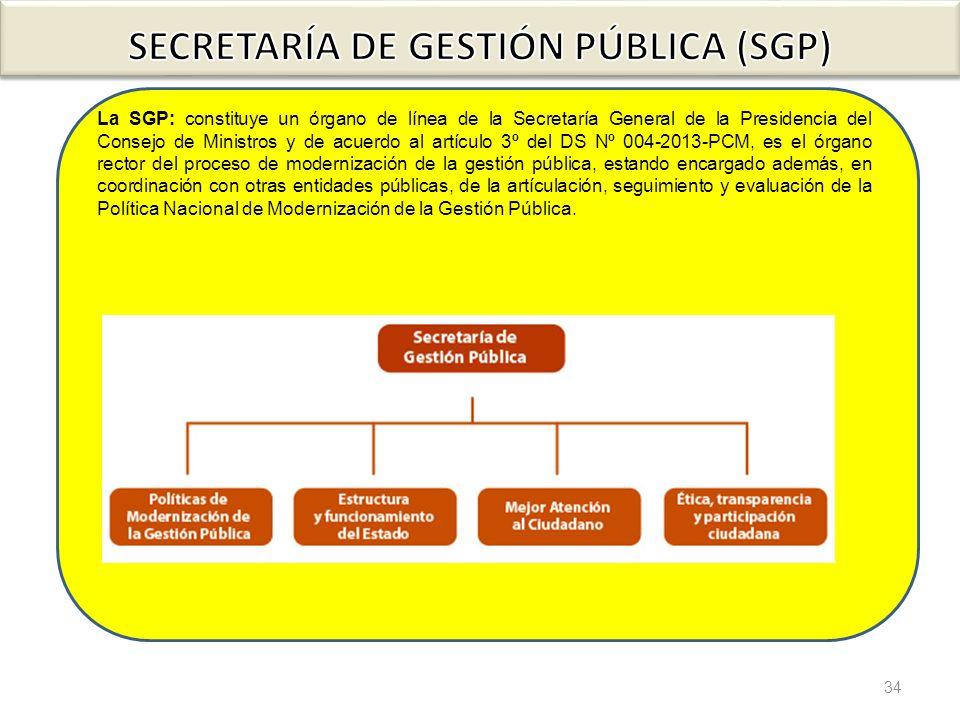 34 La SGP: constituye un órgano de línea de la Secretaría General de la Presidencia del Consejo de Ministros y de acuerdo al artículo 3º del DS Nº 004