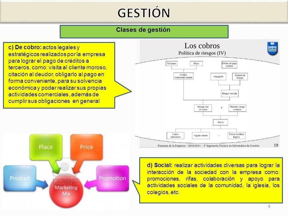 15 Tipos de gestión g ) Administrativa: De esta función depende el éxito o fracaso del negocio.