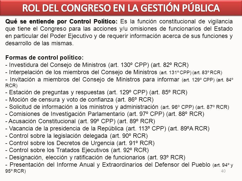 40 Qué se entiende por Control Político: Qué se entiende por Control Político: Es la función constitucional de vigilancia que tiene el Congreso para l
