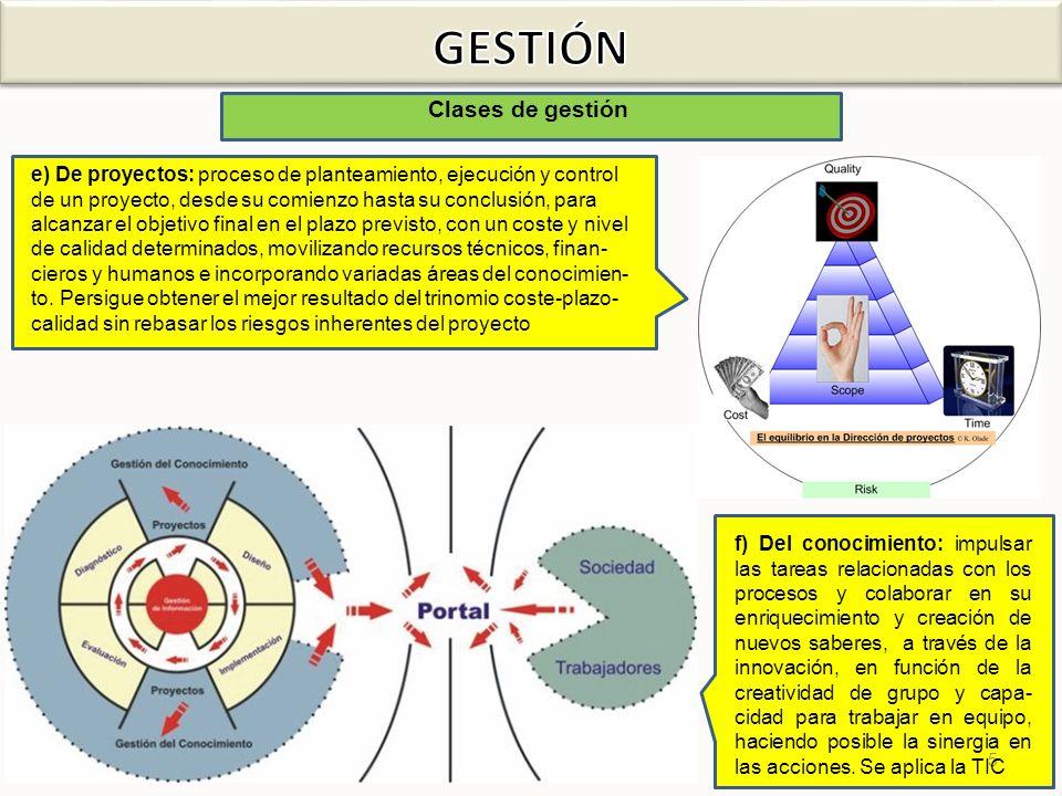 5 Clases de gestión e) De proyectos: proceso de planteamiento, ejecución y control de un proyecto, desde su comienzo hasta su conclusión, para alcanza