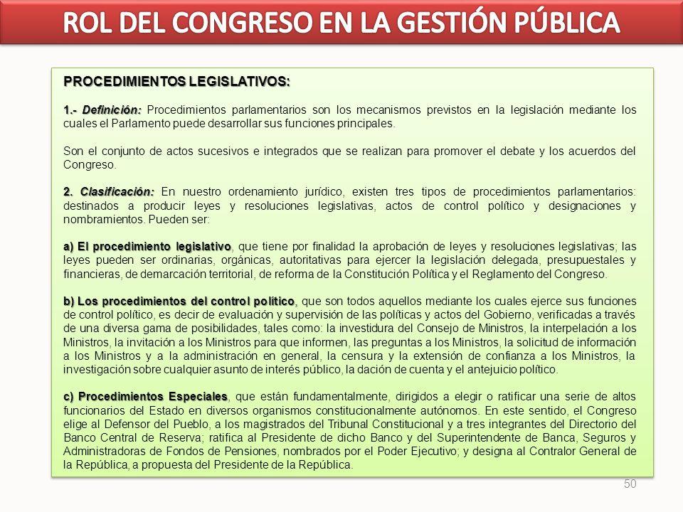50 PROCEDIMIENTOS LEGISLATIVOS: 1.- Definición: 1.- Definición: Procedimientos parlamentarios son los mecanismos previstos en la legislación mediante