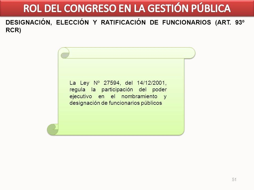 51 DESIGNACIÓN, ELECCIÓN Y RATIFICACIÓN DE FUNCIONARIOS (ART. 93º RCR) La Ley Nº 27594, del 14/12/2001, regula la participación del poder ejecutivo en