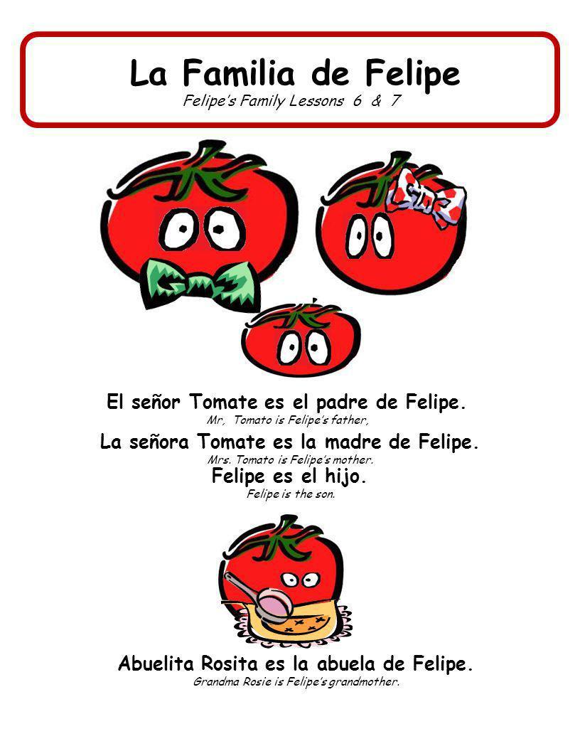 La Familia de Felipe Felipes Family Lessons 6 & 7 El señor Tomate es el padre de Felipe. Mr, Tomato is Felipes father, Felipe es el hijo. Felipe is th
