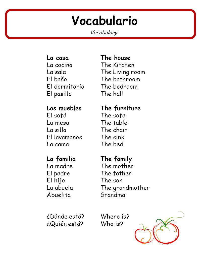 Vocabulario Vocabulary La casaThe house La cocinaThe Kitchen La salaThe Living room El bañoThe bathroom El dormitorioThe bedroom El pasilloThe hall Los mueblesThe furniture El sofáThe sofa La mesaThe table La sillaThe chair El lavamanosThe sink La camaThe bed La familiaThe family La madreThe mother El padreThe father El hijoThe son La abuelaThe grandmother AbuelitaGrandma ¿Dónde está?Where is.