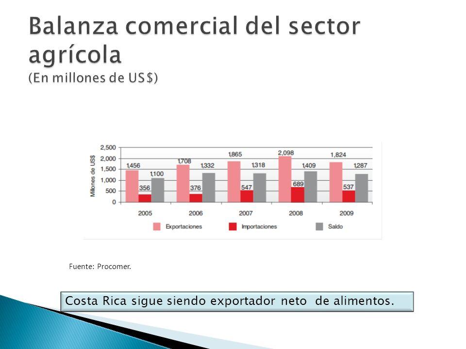 Fuente: Procomer. Costa Rica sigue siendo exportador neto de alimentos.