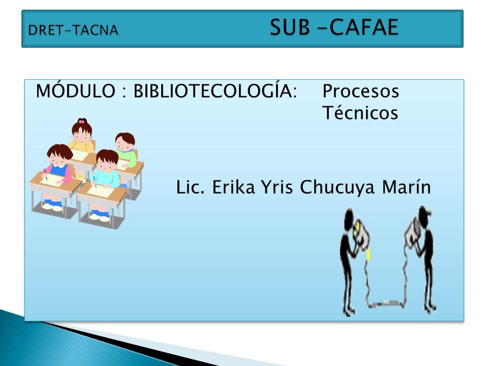 MÓDULO : BIBLIOTECOLOGÍA: Procesos Técnicos Lic. Erika Yris Chucuya Marín MÓDULO : BIBLIOTECOLOGÍA: Procesos Técnicos Lic. Erika Yris Chucuya Marín