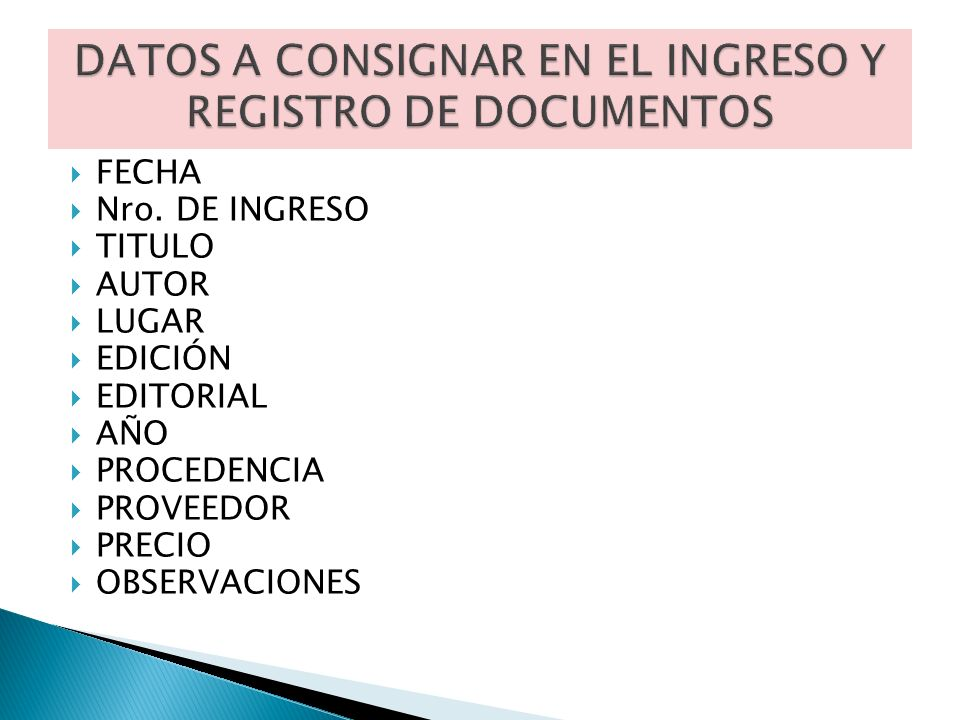 FECHA Nro. DE INGRESO TITULO AUTOR LUGAR EDICIÓN EDITORIAL AÑO PROCEDENCIA PROVEEDOR PRECIO OBSERVACIONES