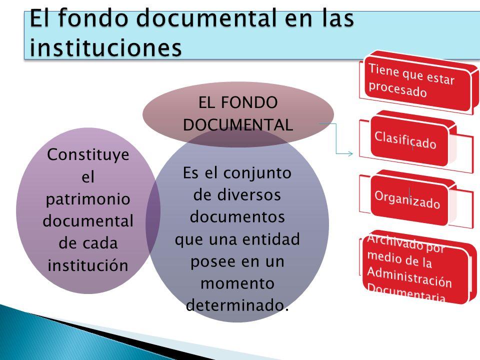 Es el conjunto de diversos documentos que una entidad posee en un momento determinado. Constituye el patrimonio documental de cada institución EL FOND