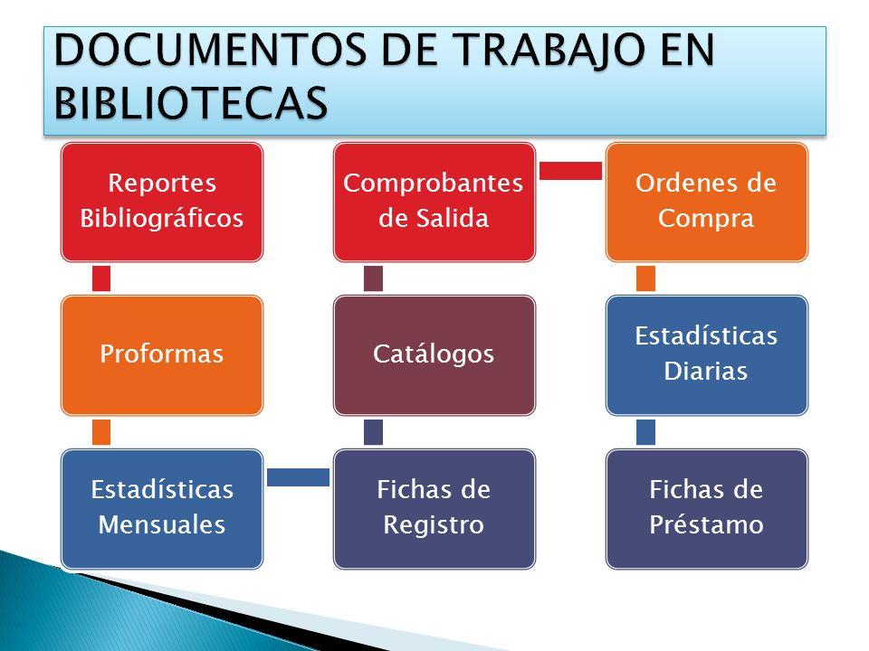 Reportes Bibliográficos Proformas Estadísticas Mensuales Fichas de Registro Catálogos Comprobantes de Salida Ordenes de Compra Estadísticas Diarias Fi
