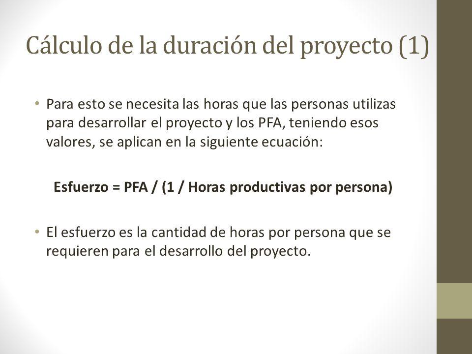 Cálculo de la duración del proyecto (1) Para esto se necesita las horas que las personas utilizas para desarrollar el proyecto y los PFA, teniendo esos valores, se aplican en la siguiente ecuación: Esfuerzo = PFA / (1 / Horas productivas por persona) El esfuerzo es la cantidad de horas por persona que se requieren para el desarrollo del proyecto.