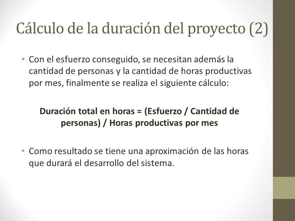 Cálculo de la duración del proyecto (2) Con el esfuerzo conseguido, se necesitan además la cantidad de personas y la cantidad de horas productivas por