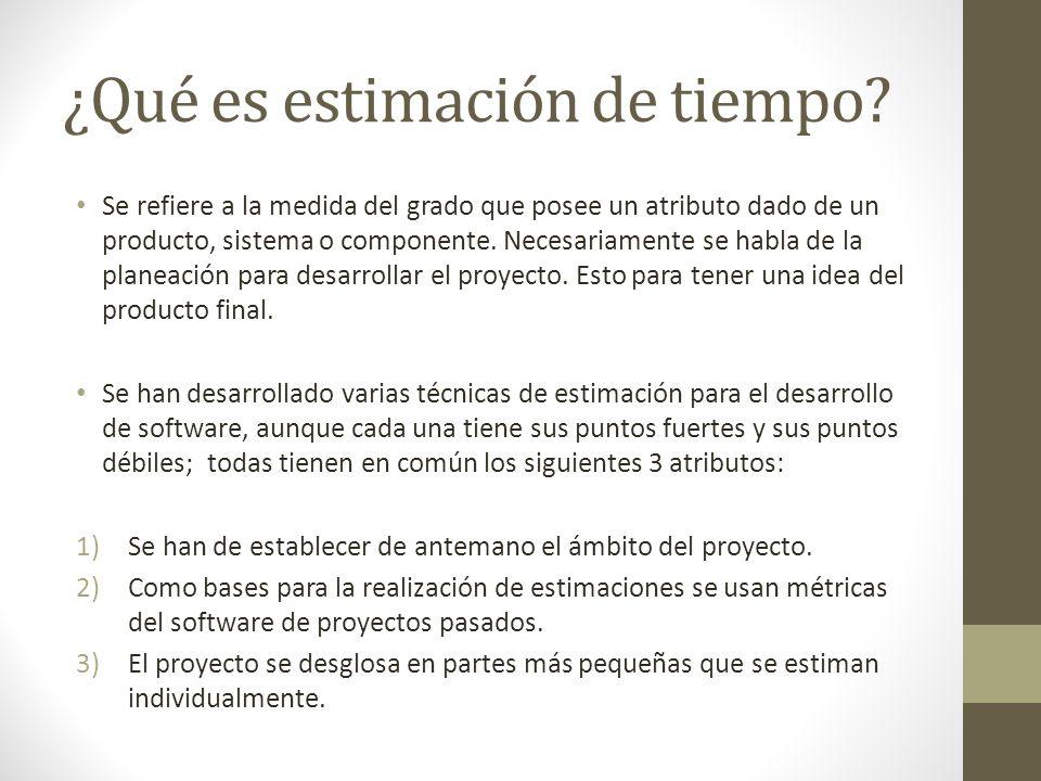 ¿Qué es estimación de tiempo? Se refiere a la medida del grado que posee un atributo dado de un producto, sistema o componente. Necesariamente se habl
