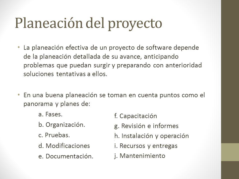 Planeación del proyecto La planeación efectiva de un proyecto de software depende de la planeación detallada de su avance, anticipando problemas que p