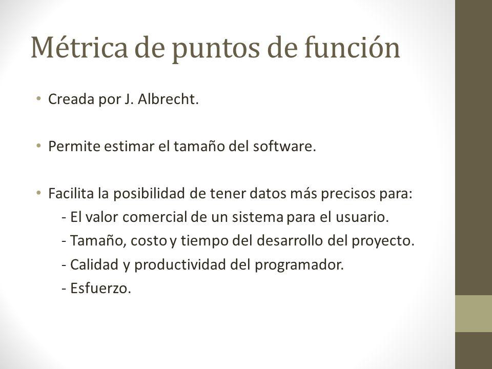 Métrica de puntos de función Creada por J. Albrecht. Permite estimar el tamaño del software. Facilita la posibilidad de tener datos más precisos para: